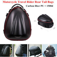 Carbon Fibre Black Motorcycle Travel Rear Tail Bag Helmet Storage Carry Backpack