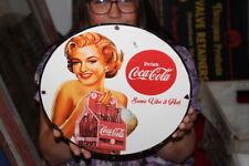 Coca Cola Soda Pop Marilyn Monroe Gas Oil Porcelain Metal Sign
