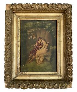"•Vintage Oil On Canvas Painting•Framed•Renaissance Lovers•Landscape•11""x8.75""•"