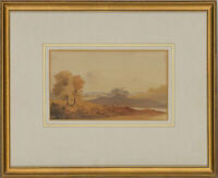 Framed Mid 19th Century Watercolour - Landscape with Distant Church