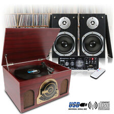 Retro Wooden LP Record Player, Hi-Fi Stereo Speakers and Amplifier USB/FM/SD Set