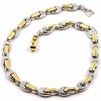 Armband Gelbgold Weiß 18K 750, Ovale Röhre Abwechselnde, Massiv, Italien Made