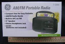 NIB GE RADIO PORTABLE AM FM 7-2664 Dual Power Cord Batteries Compact Travel