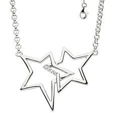 Collier Halskette Sterne 925 Silber mit Zirkonia 45 Cm Kette Silberkette