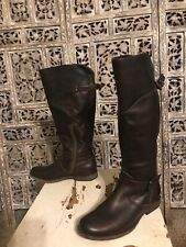 Womens Frye Riding Boots With Buckles & Zippers Size 7.5 Dark Brown Leather