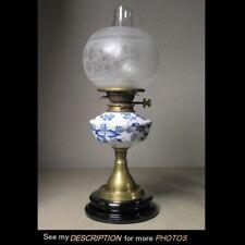 Antique signed Meissen Blue Onion Kerosene Oil Lamp hinks duplex Acid Etch Shade
