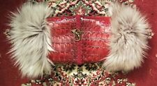 Victorian Steampunk Muff Hand Warmer Gray Fur, Red Dragon Scale, Brass Dragon