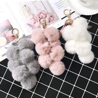 Grape Shape Faux Rabbit Fur Keychain Bag Pendants Pompom Hanging Keyring Buckle