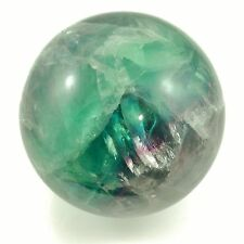 "RAINBOW FLUORITE Large Polished Sphere 786.5g 3.07"" w/ Healing Property Card"