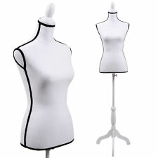 Female Mannequin White Torso Dress Clothing Form Display White Tripod Stand New