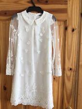 BNWT M&S GIRLS WINTER WHITE LACE FLOWER GIRL/ FORMAL DRESS AGE 6-7