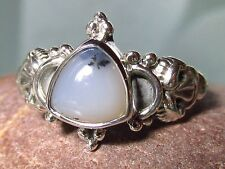 Sterling silver dendritic agate everyday ring UK K¾/US 5.75