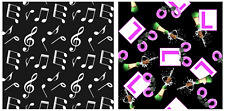 Musical Notes Symbols Hen Night Party Celebrations Print 4 Way Spandex Fabric