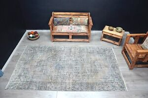 Vintage Gray and Brown Turkish Overdyed Area Rug 5x9 ft Bohemian Decor Rug 1312