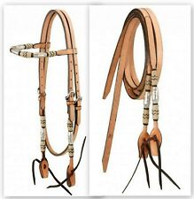 Light Oil Leather Bridle with Braided Rawhide and Silver Barrels Horse Tack