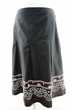 Ann Taylor Loft Linen Blend Knee Length Embroidered Pleated Skirt Size 6 Black