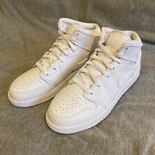 Nike Air Jordan 1 Mid (GS) Triple White UK 6 US 7Y EU 40 554725-130 BNIB