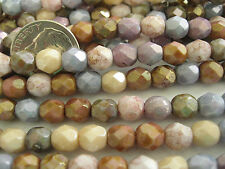 100 Mixed Luster Opaque Czech Fire Polished Glass Beads 6mm