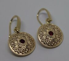 9CT SOLID YELLOW GOLD ANTIQUE RUBY FILIGREE DROP EARRINGS*FREE EXPRESS POST