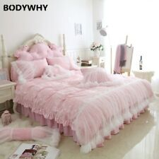 2020 luxury fleece fabric pure color girl bedding suit lace flannel