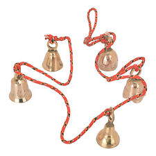 Beautiful Chime With 5 Pieces Set Polished Brass Bells About 50 Mm Thread String