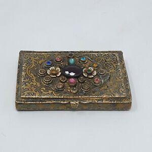 ANTIQUE BRASS & Faux Precious Stone PILL BOX - Stunning Floal Engraving