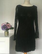 YUMI Tunic Dress Size Large BLACK | Lace Smart Party WORK Office Clubbing