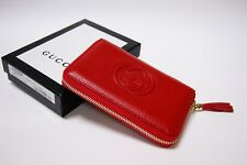 New Authentic Gucci Soho Small Red Leather Zip Around Wallet Clutch