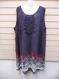 Sheego Ladies Navy Dress Size 30 Chiffon / Jersey & Lace Detail G031