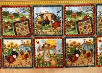 Country Farm Kaufman Animals Pillow Panels Cotton Fabric Quilting 110 X 30