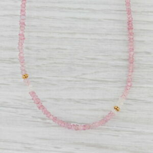 New Nina Nguyen Harmony Pink Topaz Bead Necklace Long Sterling Gold Vermeil