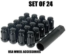 24 Closed End 7/16 Black 6 Spline Lug Nuts w/Key