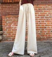 Women Cotton Linen Long Pants Casual Wide Leg Pants Beach Loose Trousers Laces@@