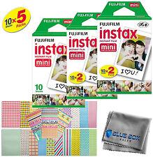 Fujifilm Instax Mini Instant Film -50 SHEETS- For Mini 8 & 9 Cameras + Stickers