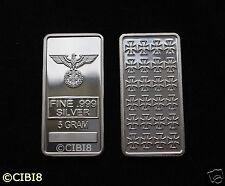 Iron Cross Pure Silver Bar 5 gram Bullion 1/6 Oz .999 WW2 3rd REICH RARE GIFT