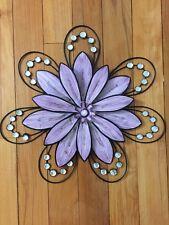 Jeweled Purple Flower Wall Art Petals Acrylic Gems Bright 3D Floral Wall Decor