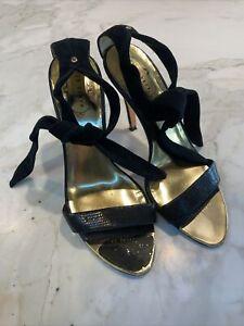 Ted Baker Black Suede Tie Heels Shoes Formal 38