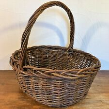 """Large 17x14x7"""" OVAL Natural TWIG WICKER BASKET Woven Handle Gift Fruit Gathering"""