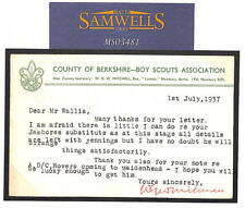 MS3481 1937 GB Berkshire Boy Scouts tarjeta re Jamboree Wallis correspondencia