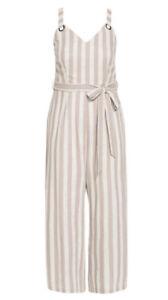 CITY CHIC - Carmine Striped Jumpsuit Size Large/20/Plus Size/Linen Blend