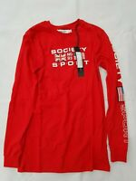 SOCIETY SPORT Red Long Sleeved Men's T-Shirt - SIZE XS