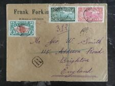 1923 Saint Denis Reunion Frank Forking Registered Cover to Brighton England