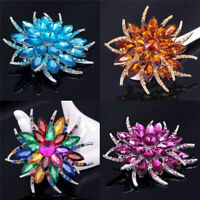 Womens Crystal Flower Pin Brooch Lapel Rhinestone Badge Label Clothes Accessory