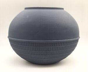 Wedgwood Interiors Beehive Vase Portland Blue ~ Dark Blue Jasperware ~ Oval Vase