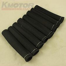 8pcs Black 1200° Spark Plug Wire Boots Heat Shield Protector Sleeve SBC BBC 350