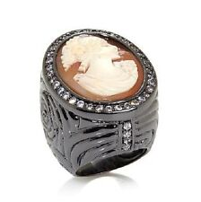 "AMEDEO NYC ""Lanello"" Cameo Swirl Black CZ Frame Ring in Sizes 9"
