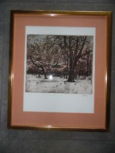Kensington Park Gardens in Winter. Signed Etching by Ron Olley. Listed