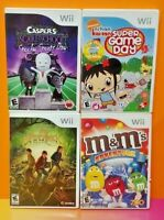 Nintendo Wii Wii U Game Lot Casper Nihao Kai-Lan M&M's Adventure Spiderwick