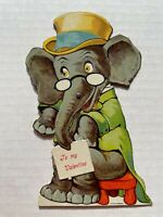 Vintage 1930's Mechanical Valentine's Day Card - Elephant w/ Top Hat on Bench