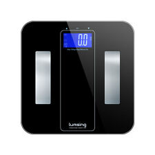 LCD Digital Smart Weigh Bathroom Body Scale Fat BMI 400lb/180kg Tempered Glass